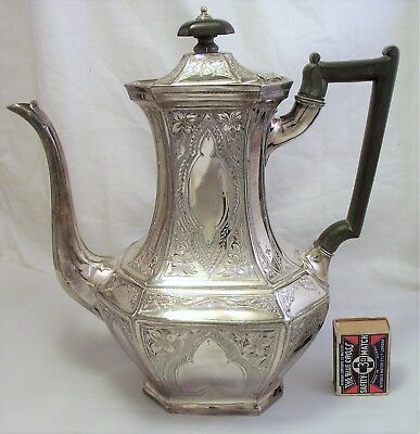 Large Victorian Gothic Coffee Pot - Silver Plate
