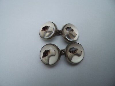Gorgeous pair of old vintage antique Essex crystal fox terrier dog cuff links