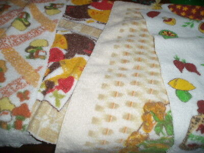 Vintage 70s Terrycloth MUSHROOM Fabric Scraps Materal Lot 4 Different Designs