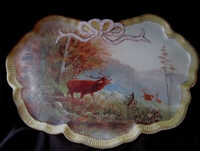 Gorgeous Antique Dresser Tray Decorative Plate with Moose Scene German? 4557