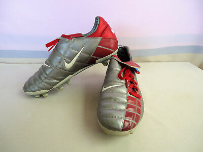 NIKE Zoom Air FOOTBALL SOCCER BOOTS Size US9.5 Red Grey Lace Up Near NEW #6281