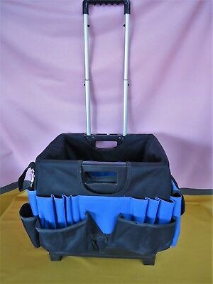 FOLDING CRAFT TROLLEY Cart Organiser Long Handle Pockets Storage Black Blue #09G