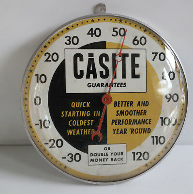 """Vintage CASITE OIL 12"""" Sealed Thermometer Sign  not pam"""