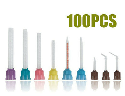 100PCS Dental Mixing Tips 6.5 mm Teal Green 1:1 Blue 10:1 Brown Pink Yellow NEW