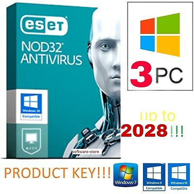 ⭐ ESET NOD32 Antivirus 2019 💥 Product Key 10 YEARS / ANNI- 3 PC • Up to 2028 💥