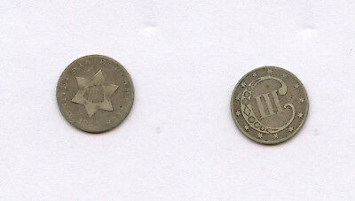 US 1852 Three 3 Cent Silver Piece Coin- AG About Good WORN-EARLY COIN LOT
