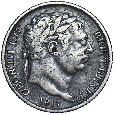 1817 Sixpence - George Iii British Silver Coin