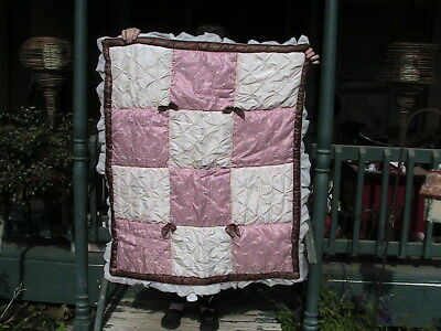 CoCaLo  REVERSIBLE  Baby Blanket Quilt Comforter 36X45 pink brown ivory tags