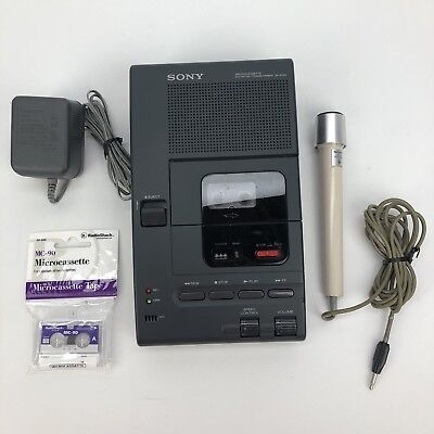 Sony Transcriber M-2020 Microcassette Dictator Voice Recorder & F-98 Microphone
