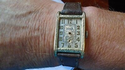 VINTAGE RARE ART DECO 1920s HINGED CASE 14ct G/F MENS WATCH FOR PARTS OR REPAIR