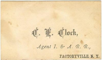 I&ARR Ithaca & Athens Railroad Agent Clock Factoryville Waverly NY Antique Card