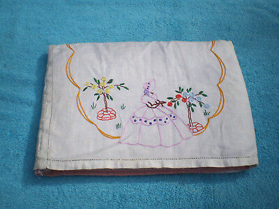 Vintage Embroidered Linen Tea Cosy - Lady In Garden  **free Shipping**