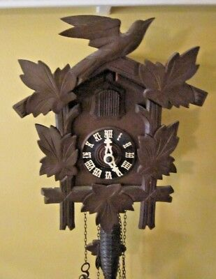 Antique Black Forest Hand Carved Cuckoo Clock Made In Pre - War Germany