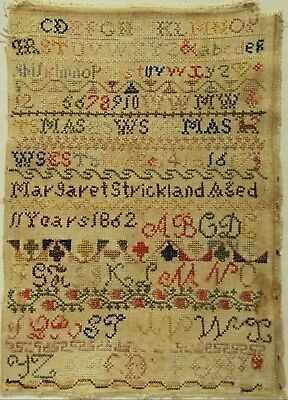 Mid 19Th Century Alphabet Sampler By Margaret Strickland Aged 11 - 1862