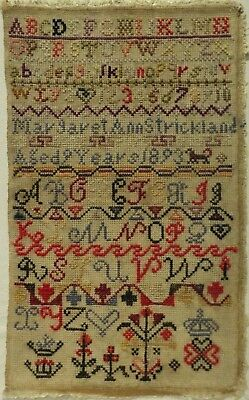 Late 19Th Century Alphabet Sampler By Margaret Ann Strickland Aged 9 - 1893
