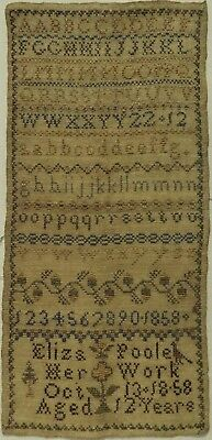 Mid 19Th Century Alphabet & Motif Sampler By Eliza Poole Aged 12 - October 1858