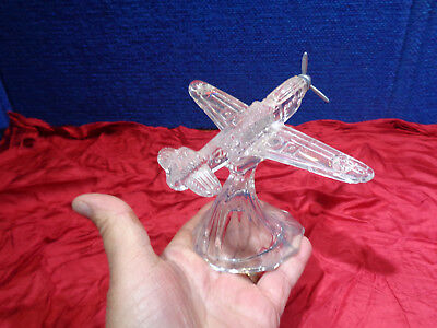 Vintage Glass Military Fighter Plane  **Glass Candy Container**