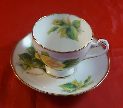 Roslyn China Wheatcroft Roses Cup & Saucer Signed  Mme Ch Sauvage