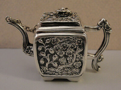 Rare Novelty Victorian Silver MINIATURE CHINOISERIE TEAPOT SCENT BOTTLE 1846