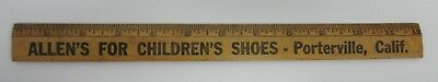 "VTG Wood Advertising 12"" Ruler Allen's For Children's Shoes Porterville, Calif."