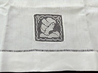 "antique linen damask towel 31""l by 20""w,  filet lace inset woman's face 3"" sq."