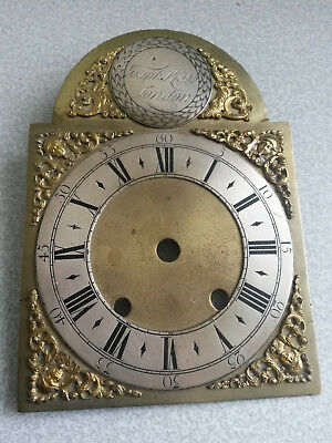 Antique 18Th C - Joseph Knibb London- Brass Clock Dial Face  - 6 X 9 Inches-Rare