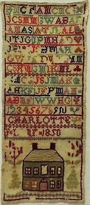 Mid 19Th Century House, Spot Motif & Family Initials Sampler By Charlotte - 1850