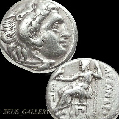 ALEXANDER the Great King Macedon Herakles, Zeus Ancient Greek Silver Coin Drachm