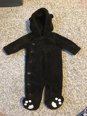 Gap Baby Boys Brown Fluffy Teddy Snowsuit Pramsuit 3-6 Months All In One Coat