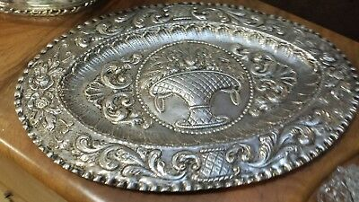 365g XIX TRAY HEAVY CARVING DIFERENTS BOUQUET FLOWERS SCENES 800 SILVER