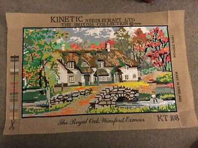 "Vintage Hand Embroidered Needlepoint Panel The Royal Oak Winsford Exmoor 17""x10"""