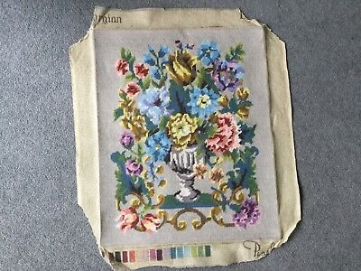 Vintage Hand Embroidered Needlepoint Panel floral