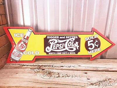 "Pepsi Cola Soda Pop Arrow 27"" Die Cut Out Metal Tin Sign Vintage Style Bar New"
