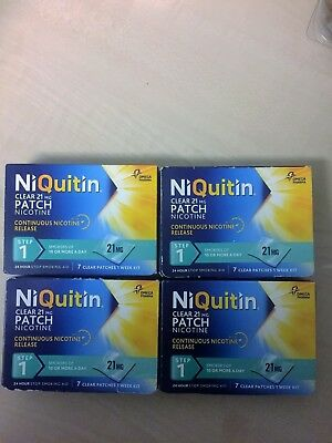 28 x NiQuitin Clear 21 mg Patches Step 1  Box Unopened Exp  02/2021