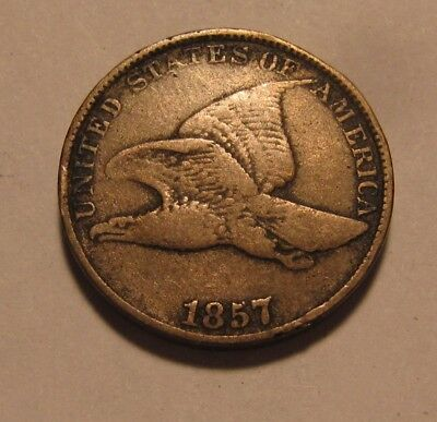 1857 Flying Eagle Cent Penny - Fine to Very Fine Condition - 76SU
