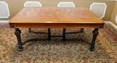 Antique Inlaid Carved Walnut Italian Rococo 1920s Dining Room Table ~ Leonardo