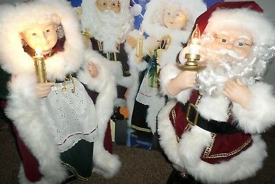 Vintage HOLIDAY WORKSHOP Animated Mr. And Mrs. Santa Claus with Candle Lights