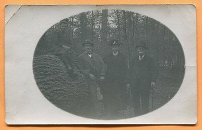 Group of People Standing Next to Giant Log, Eastern Europe, Real Photo ca 1910s