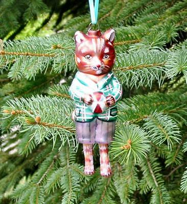 Fab Glitterville Christmas Glass Dressed Boy Cat Ornament Nathalie Lete New