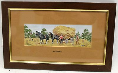 """CASH'S Woven Pictures """"Haymaking"""" High Quality Embroidered Art In Frame - N10"""