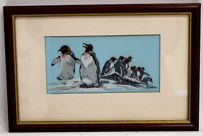 """CASH'S Woven Pictures """"King Penguin"""" High Quality Embroidered Art In Frame - A14"""