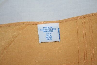 Macclesfield  Silk England Yellow Pocket Square /handkerchief 15 X 15 Excellent