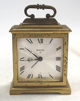 Vintage Miniature SWIZA 8 Day Square Brass DESK CLOCK - Spares & Repairs - D38