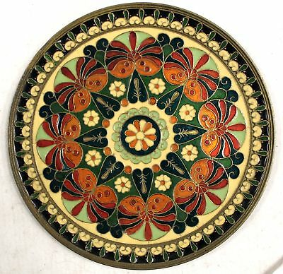 Vintage Enamelled Brass CLOISONNE Circular Wall Plaque Hanging  - W39