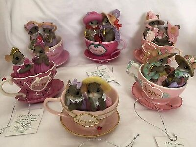 Charming Tails Teacups Of Hope Breast Cancer Awareness Lot Mice Collectible Pink