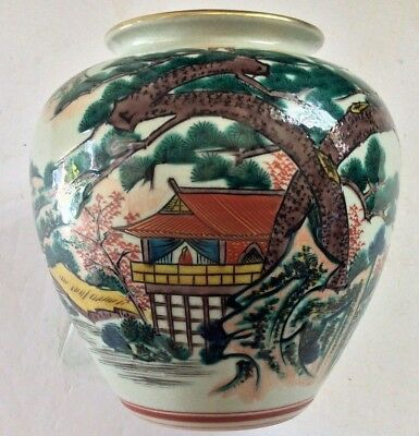 Antique Japanese Kutani Celadon Crackle Glaze Porcelain Scenic Vase