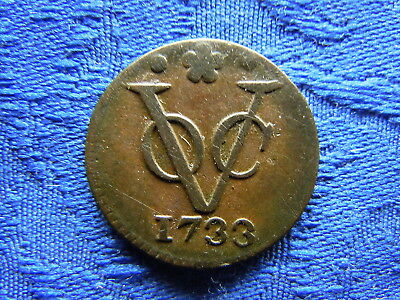 NETHERLANDS EAST INDIES HOLLAND 1 DUIT 1736, KM70 scratched