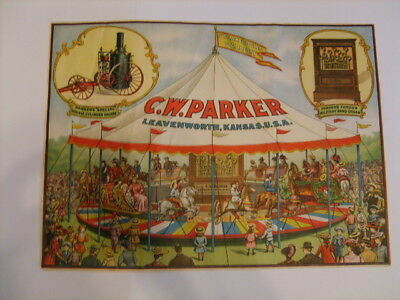 c.1910 C.W. Parker Carousel Circus Lithograph Poster from Leavenworth Kansas KS