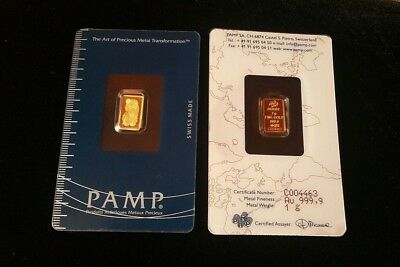 1 gram Gold Pamp Suisse - 999,9 Gold (In Assay) - Lot of 5