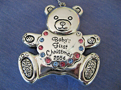 Reed & Barton Baby's First Christmas Ornament, Silver Tone,  Pink & Blue Stones